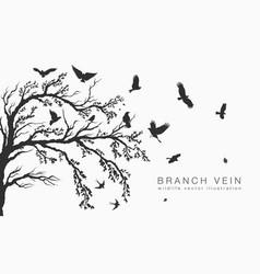 Flock of flying birds on tree branch vector