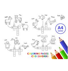 Funny animals coloring book crosswords vector