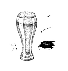 glass beer sketch style vector image