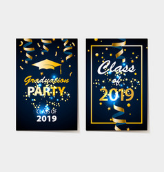 Graduation party invitation card with golden vector