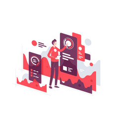handsome young businessman monitoring web vector image