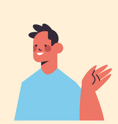 Happy man waving hand in camera smiling guy avatar vector