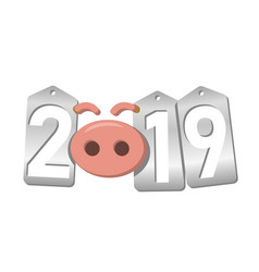 happy new year background pink pig 3d silver vector image