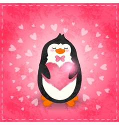 Happy Valentines day card with penguin and heart vector image