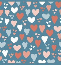 heart seamless pattern background blue pink vector image