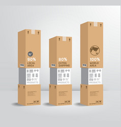 Infographic template product shipping paper box vector