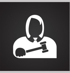 Judge icon on black background for graphic and web vector