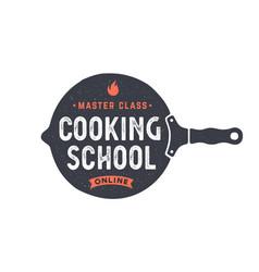 Kitchen frying pan logo for cooking school vector