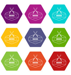 knive icons set 9 vector image