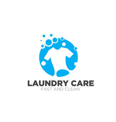 Laundry care logo designs simple modern for fast vector