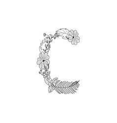 Letter c floral ornament vector