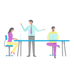 manager and workers in office flat style vector image