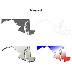 Maryland outline map set vector