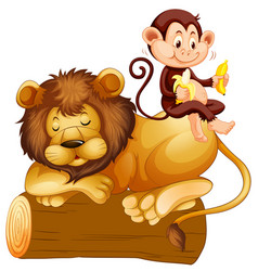 Monkey sitting on lion vector