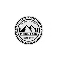 Mountain badge logo design vector