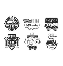 offroader club retro logo set off road adventures vector image