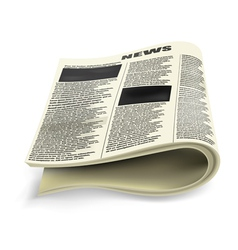 Old folded newspaper vector