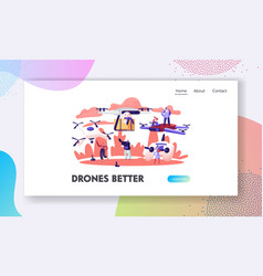 people using drones website landing page vector image