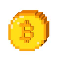 Pixel bitcoin 3d icon vector
