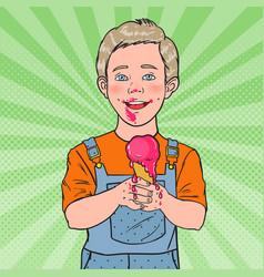 Pop art happy little boy eating ice cream vector