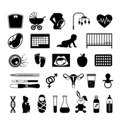 Pregnancy black icons Pregnant health test and vector image