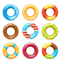 Realistic colorful life rings set vector