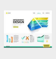 realistic infographic landing page concept vector image