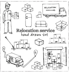 Relocation service isolated hand drawn doodles vector
