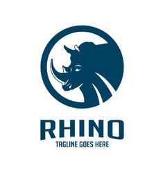 rhinoceros head logo design in a circle vector image