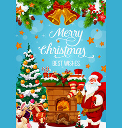 Santa near fireplace with christmas gifts vector