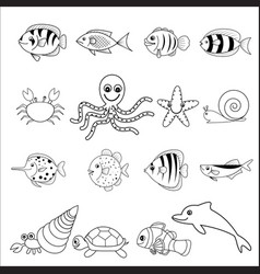 sea and shell animals vector image