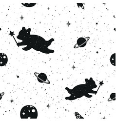 seamless pattern with moon bears saturn rockets vector image