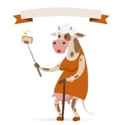 Selfie photo cow old woman portrait vector