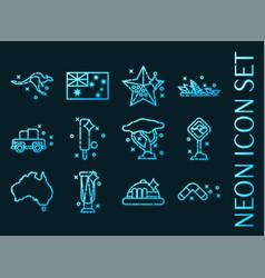 Set australia blue glowing neon icons vector