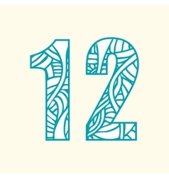 Set of doodle numbers including two numbers with vector image
