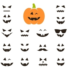 Set of faces for Halloween pumpkin vector image