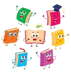 Set of funny book characters mascots cartoon vector