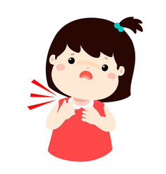 Sick girl sore throat cartoon vector