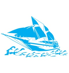 silhouette a sailboat on waves vector image