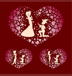 Silhouettes of a boy and a princess with red vector