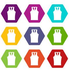 Sleeveless shirt icon set color hexahedron vector