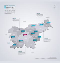 Slovenia map with infographic elements pointer vector