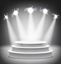 Studio with a podium and spotlights grey show vector image