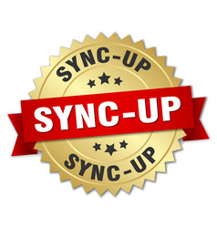 Sync-up round isolated gold badge vector