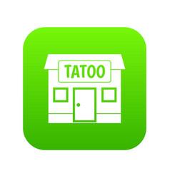 tattoo salon building icon digital green vector image