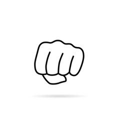 thin line woman fist like girl power vector image