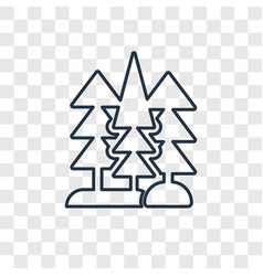 Trees concept linear icon isolated on transparent vector