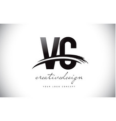 Vc v c letter logo design with swoosh and black vector
