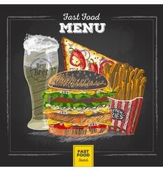 Vintage chalk drawing fast food menu vector