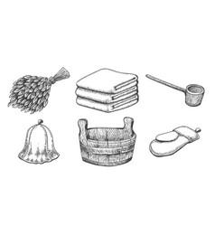 vintage sketch sauna items vector image